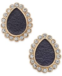 Thalia Sodi Gold Tone Jet Faux Leather Crystal Teardrop Stud Earrings Only At Macy's Black