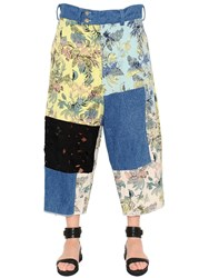Marna Ro Patchwork Brocade Denim And Lace Pants