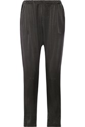 Clu Washed Silk Tapered Pants Black