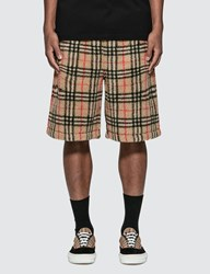 Burberry Vintage Check Faux Shearling Drawcord Shorts Beige
