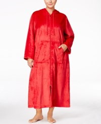 Charter Club Plus Size Hooded Zip Front Robe Only At Macy's Candy Red