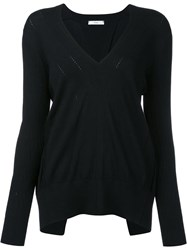 Tome Open Back V Neck Blouse Black