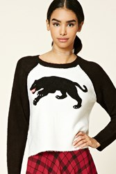 Forever 21 Panther Patch Graphic Sweater Black White
