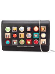 Fendi Stud Embellished Chain Wallet Black