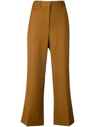 Victoria Beckham Flared Cropped Tailored Trousers Yellow And Orange