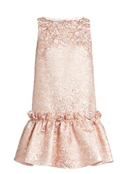Osman Semiha Ruffled Hem Leaf Brocade Dress Rose Gold