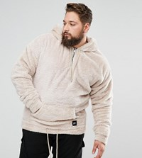 Sixth June Hoodie In Stone Fluffy Borg Exclusive To Asos