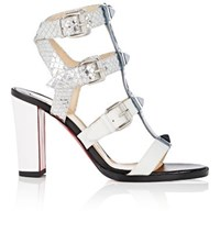 Christian Louboutin Women's Rocknbuckle Cage Sandals White Blue Silver No Color White Blue Silver No Color