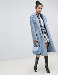 Lost Ink Pannelled Coat In Herringbone Faux Fur Mix Blue