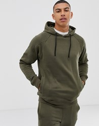 Another Influence Ribbed Panel Overhead Hoodie Green