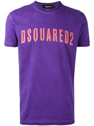 Dsquared2 Vintage Embroidered Logo T Shirt Pink Purple