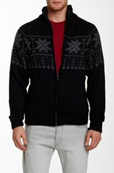 Weatherproof Fairisle Full Zip Faux Fur Lined Sweater Black