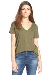 Women's Madewell 'Whisper' Cotton V Neck Tee Cargo Green