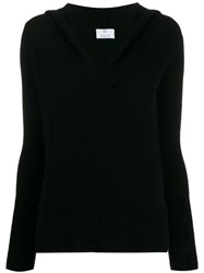 Allude Ribbed V Neck Sweater Black
