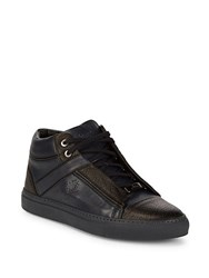 Brioni Grained Leather Chukka Sneakers Blue