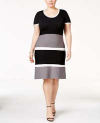 Anne Klein Plus Size Colorblocked Sweater Dress Grey Combo