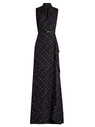 Elie Saab V Neck Polka Dot Print Silk Georgette Gown Black Multi
