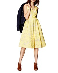 Karen Millen Devore Fit And Flare Dress Yellow