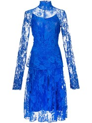 Tome Lace Turtleneck Dress Blue