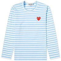 Comme Des Garcons Play 'S Long Sleeve Red Heart Stripe Tee Blue