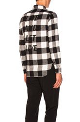 Neil Barrett Live And Let Live Printed Flannel In Black White Checkered And Plaid Black White Checkered And Plaid