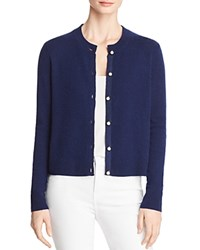 Bloomingdale's C By Faux Pearl Button Cashmere Sweater 100 Exclusive Navy