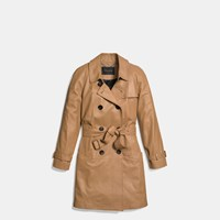 Coach Leather Drapey Trench Camel