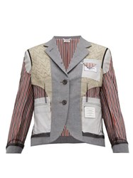 Thom Browne Inside Out Wool Blend Single Breasted Blazer Grey Multi
