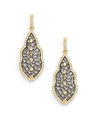 Freida Rothman Hammered Geometric Sterling Silver And 14K Yellow Gold Vermeil Studded Drop Earrings