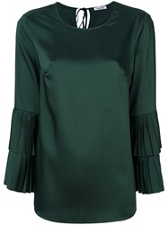 P.A.R.O.S.H. Pleated Layered Sleeves Blouse Women Polyester L Green