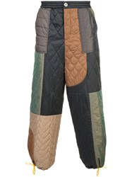 Mostly Heard Rarely Seen Colour Block Quilted Trousers Nylon Polyester Green