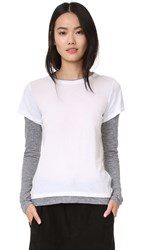 Monrow Double Later Contrast Long Sleeve Tee White
