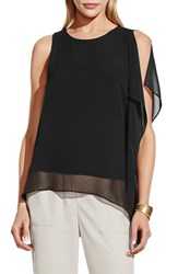 Women's Vince Camuto Sleeveless Top With Asymmetrical Chiffon Overlay Rich Black