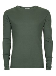 Topman Green Khaki Ribbed Muscle Fit Long Sleeve T Shirt