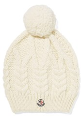 Moncler Pompom Embellished Cable Knit Beanie Ivory