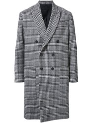 Ami Alexandre Mattiussi Plaid Double Breasted Coat Black
