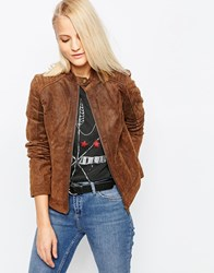 Barney's Originals Suede Biker Jacket Tan Brown
