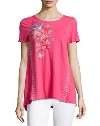 Jwla Floral Embroidered V Back Tee Fuchsia Fiesta