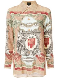 Jean Paul Gaultier Vintage Printed Long Sleeve Shirt Brown