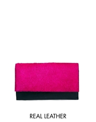 Asos Leather Vintage Style Travel Wallet With Pony Effect Flap Pink