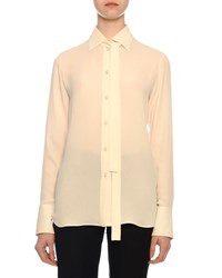 Valentino Tie Neck Long Sleeve Button Front Silk Georgette Blouse Ivory