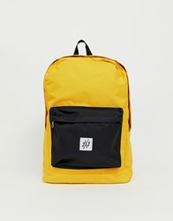 Jack And Jones Backpack In Colour Block With Branded Logo Yellow