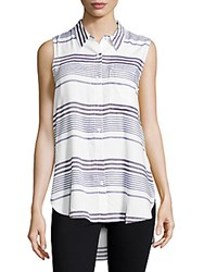 Beach Lunch Lounge Striped Asymmetric Shirt Blue Haze