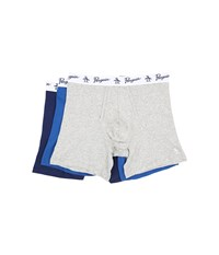Original Penguin 100 Cotton 3 Pack Boxer Brief Heather Grey Classic Blue Medieval Blue Men's Underwear Multi