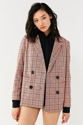 Urban Outfitters Uo Checkered Blazer Red Multi