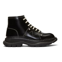 Alexander Mcqueen Black Tread Lace Up Boots