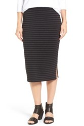 Eileen Fisher Merino Wool Blend Double Knit Stripe Pencil Skirt Gray