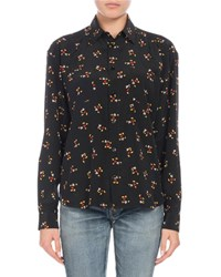 Saint Laurent Mickey Mouse Button Front Long Sleeve Silk Classic Blouse Black Pattern