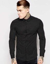 Asos Skinny Shirt In Long Sleeve With Polka Dot Black