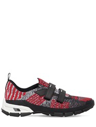 Prada Cross Section Knit Slip On Sneakers Red Black